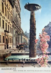 Vintage Travel Poster, Richard Strauss Fountain, Munich